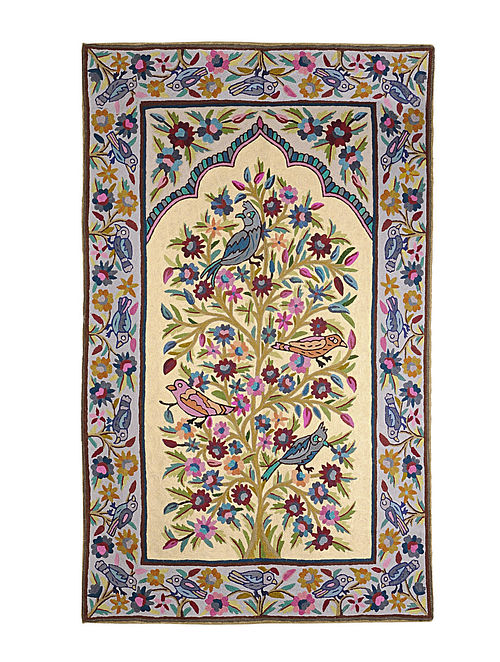Chain-Stitch Hand Embroidered Wool Rug 56in x 35in