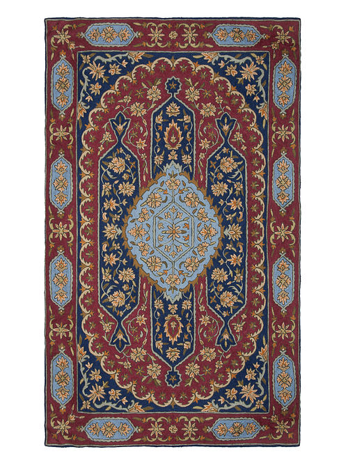 Multi-Color Crewel Hand Embroidered Wool Rug 57in x 37in