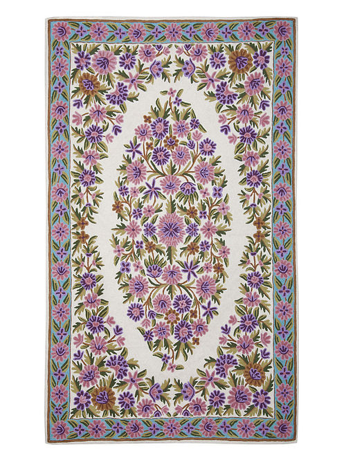 Multi-Color Crewel Hand Embroidered Wool Rug 58in x 35.5in