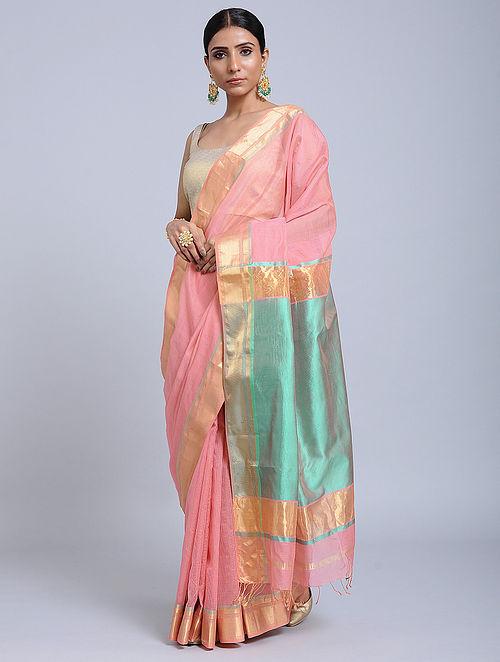 Pink Handloom Silk Cotton Saree with Zari