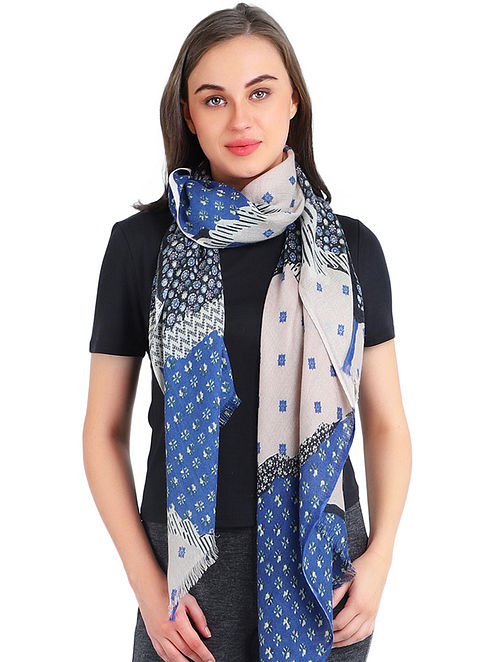 Blue-Grey Printed Cashmere Crepe Scarf