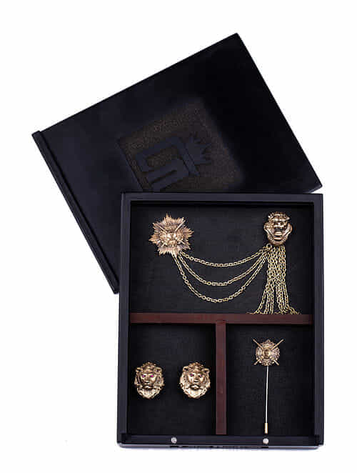 Gold Tone Handcrafted Brooch Cufflinks And Lapel Pin Set