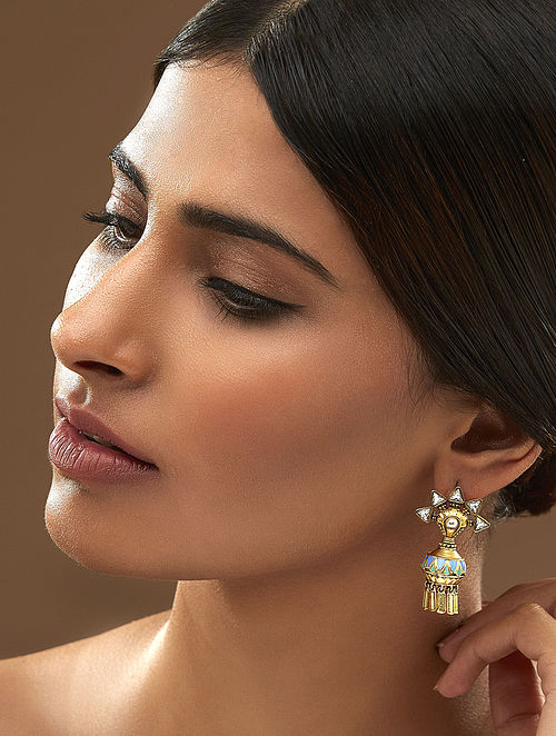 AMRAPALI- Baroque Dange Earrings Made with Swarovski Crystals & pearls