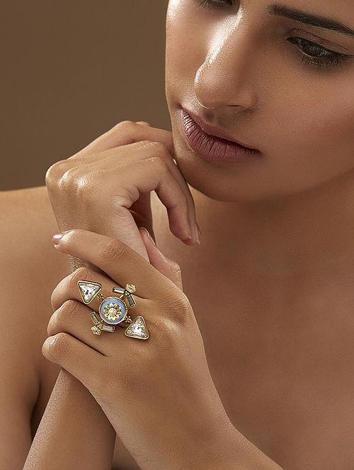 AMRAPALI- Baroque Delta Ring Made with Swarovski Crystals