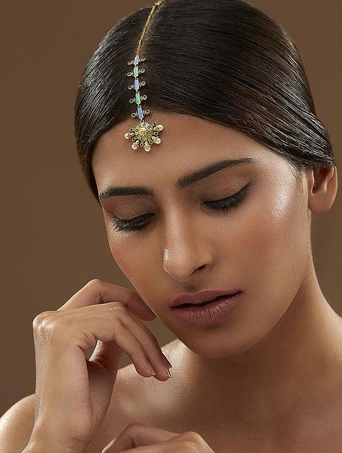 AMRAPALI- Baroque  Floral Maang Tikka Made with Swarovski Crystals & pearls