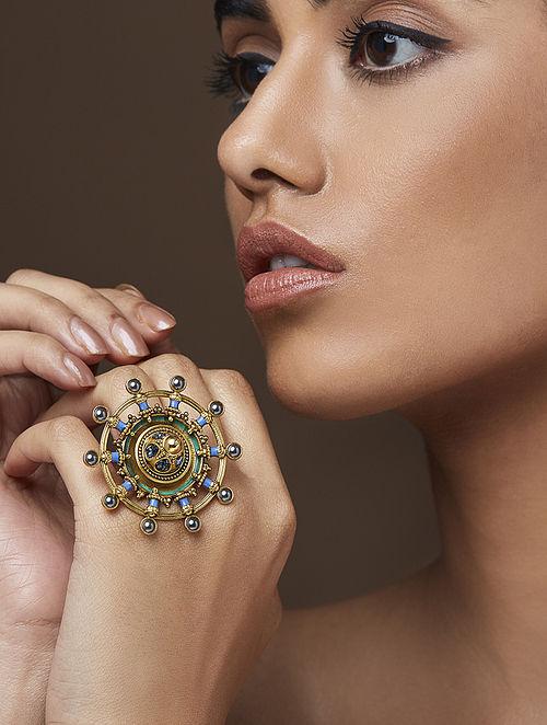 AMRAPALI-Baroque Emblem Ring Made with Swarovski Crystals