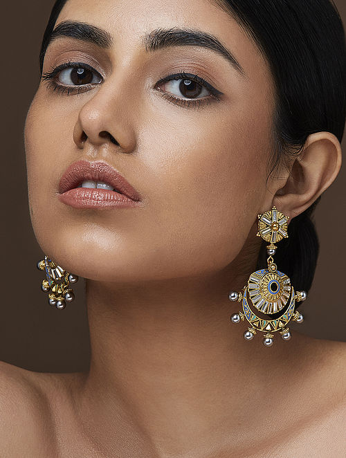 AMRAPALI- Baroque Cresent Earrings Made with Swarovski Crystals & pearls