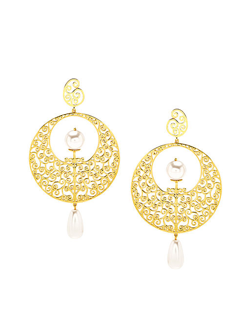 EINA AHLUWALIA-FE Moon Gate Earrings Made with Swarovski Crystals & pearls