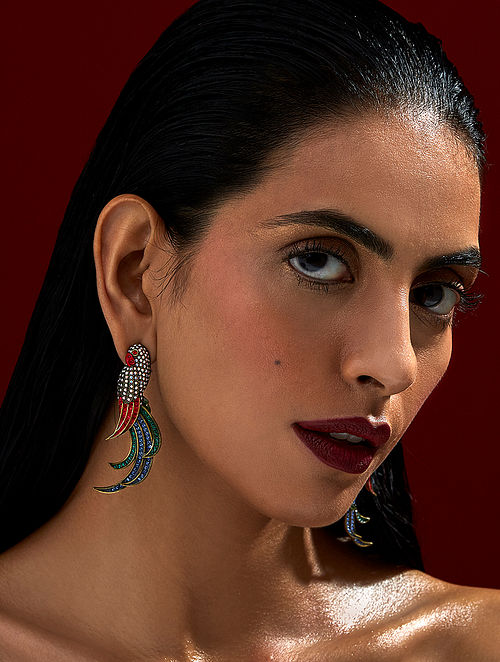 ROHIT BAL- Guldastah Parrot Earrings Made with Swarovski Crystals