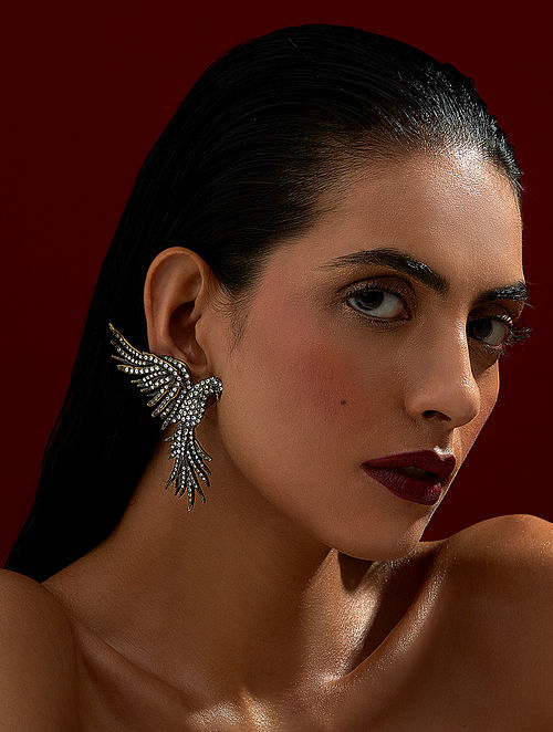 ROHIT BAL- Guldastah Falcon Earrings Made with Swarovski Crystals