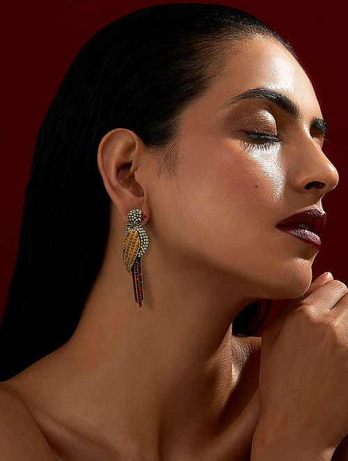 ROHIT BAL- Guldastah Bulbul Earrings Made with Swarovski Crystals