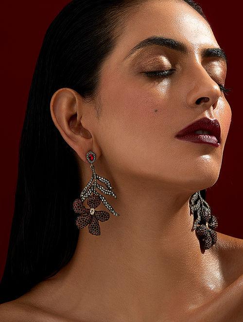 ROHIT BAL- Guldastah Drop Earrings Made with Swarovski Crystals & pearls