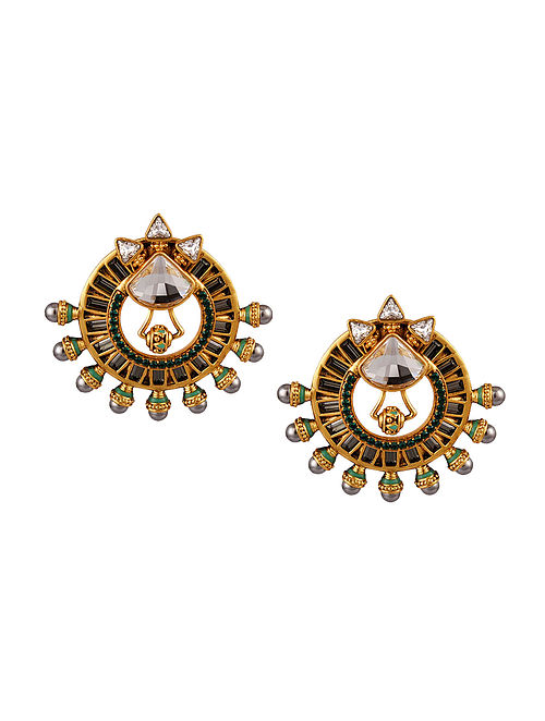 AMRAPALI- Baroque Pearl Earrings Made with Swarovski Crystals & pearls