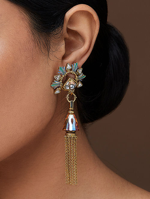 AMRAPALI- Baroque Tassel Earrings Made with Swarovski Crystals & pearls