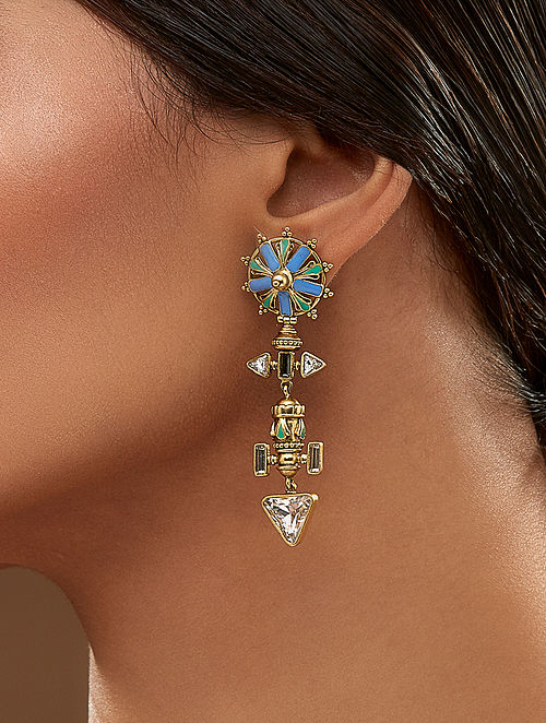 AMRAPALI-Baroque Chakra Earrings Made with Swarovski Crystals