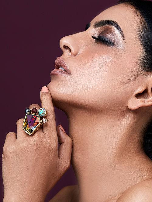 JJ VALAYA-Isfahan Volcano Ring Made with Swarovski Crystals & pearls