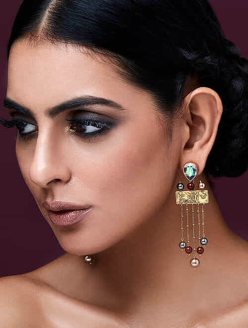 JJ VALAYA-Isfahan Pearl Drop Earrings Made with Swarovski Crystals & pearls