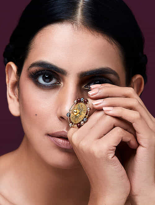 JJ VALAYA-Isfahan Ring Made with Swarovski Crystals & pearls