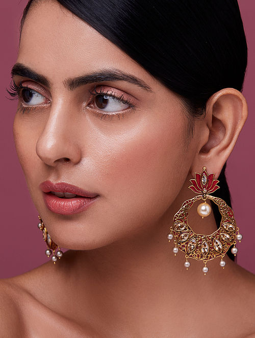 NIDA MAHMOOD-India Electric Lotus Earrings Made with Swarovski Crystals & pearls