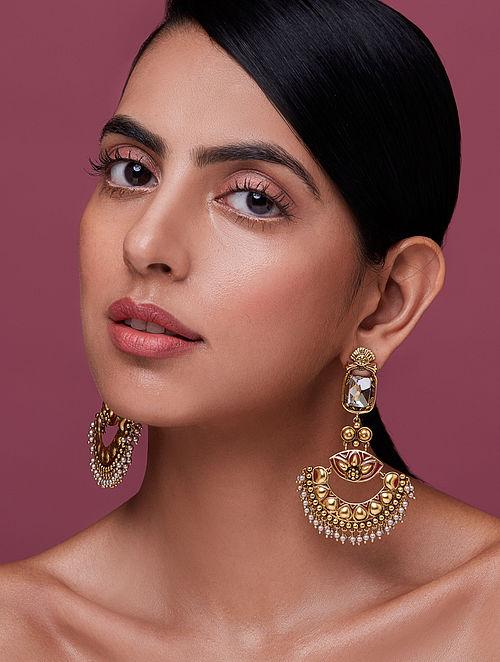 NIDA MAHMOOD-India Electric Chaandbali Made with Swarovski Crystals & pearls