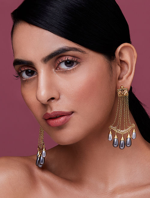 NIDA MAHMOOD- India Electric Mughal Earrings Made with Swarovski Crystals & pearls