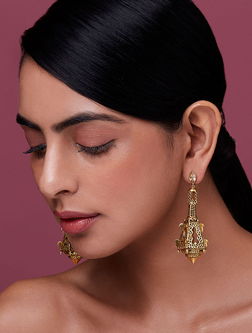NIDA MAHMOOD-India Electric Chandelier Earrings Made with Swarovski Crystals