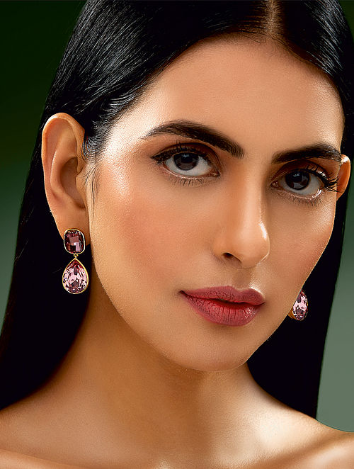 Confluence Shivan & Narresh Poppy Rose Earrings with Swarovski Crystals