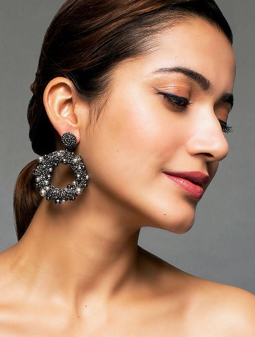 Deepa Gurnani Ashi Grey Earrings Made with Swarovski Crystals and Pearls