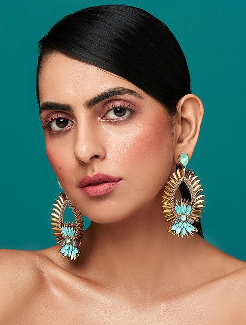 Deepa Gurnani Mala Mint Earrings Made with Swarovski Crystals