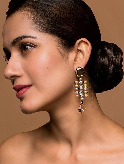 Tarun Tahiliani- Luminescent Trail Earrings Made with Swarovski Crystals & pearls
