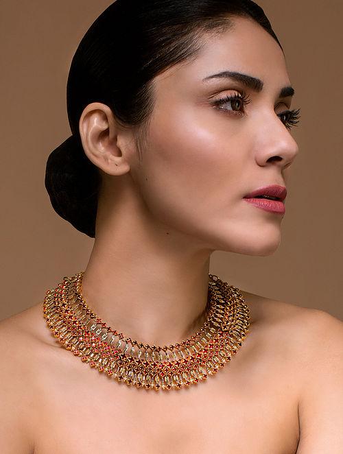 Tarun Tahiliani- Luminescent Statement Deco Necklace Made with Swarovski Crystals & pearls