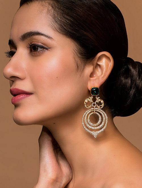 Tarun Tahiliani- Luminescent Chandelier Earrings Made with Swarovski Crystals & pearls