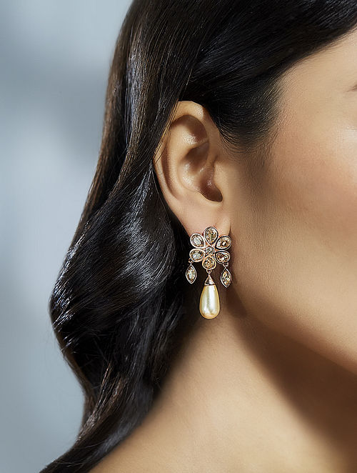 SUNEET VARMA- Bloom Drop Earring Made with Swarovski Crystals & pearls