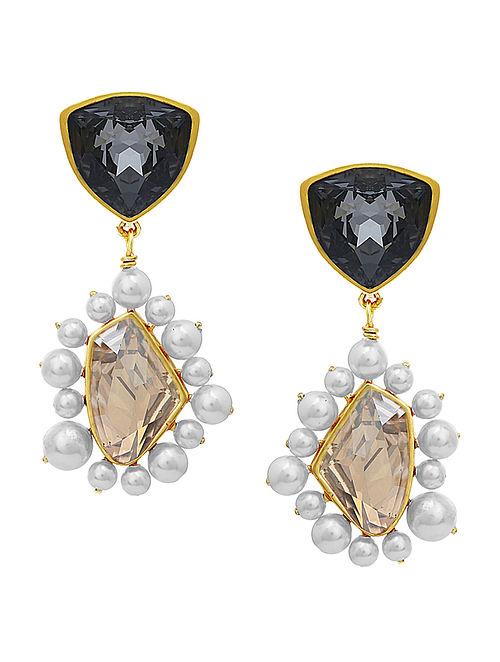 ISHARYA- Desert Pearl Black Diamond Topaz Earrings Made with Swarovski Crystals & pearls