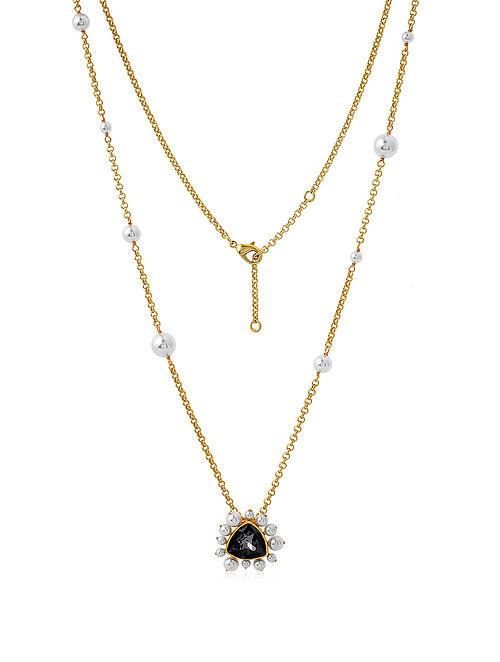 ISHARYA- Desert Pearl Black Diamond Necklace Made with Swarovski Crystals & pearls