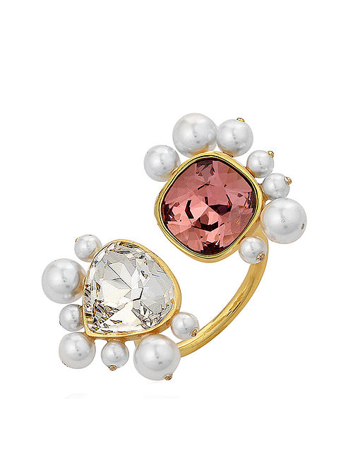 ISHARYA- Desert Pearl Open Ring Made with Swarovski Crystals & pearls