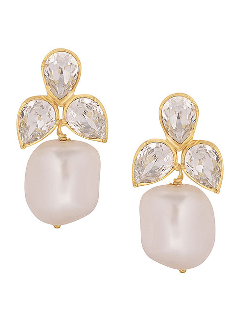 ISHARYA-Desert Pearl Petal Cluster Earrings Made with Swarovski Crystals & pearls