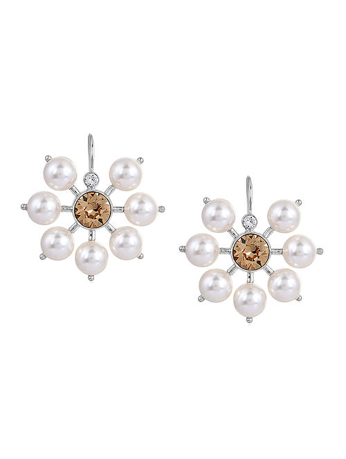 ISHARYA- Sparkle of Spring Earrings Made with Swarovski Crystals & pearls