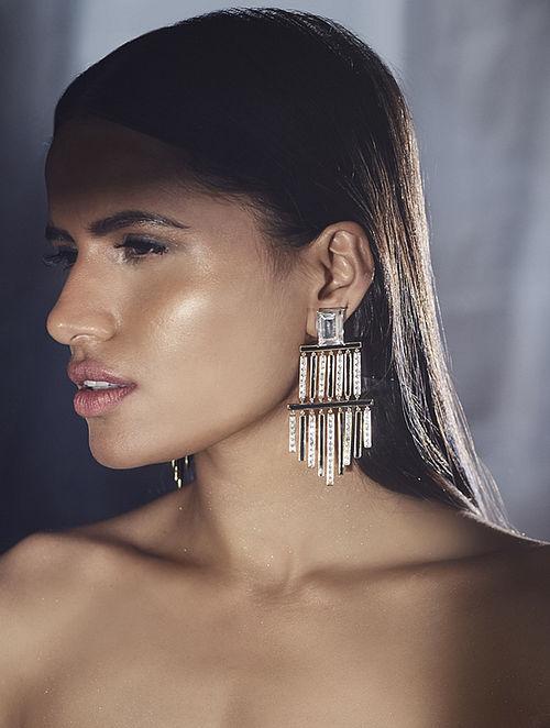 SHIVAN & NARRESH-Edomer Monochrome Chandelier Earrings Made with Swarovski Crystals