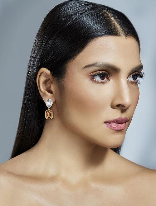 SHIVAN & NARRESH- Emerald Drop Earrings Made with Swarovski Crystals