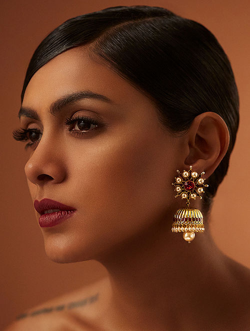 TARUN TAHILIANI-Tarakanna Maroon Jhumki Made with Swarovski Crystals & pearls