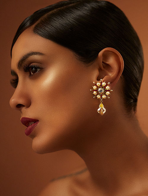 TARUN TAHILIANI-Tarakanna Gold Drop Earrings Made with Swarovski Crystals & pearls