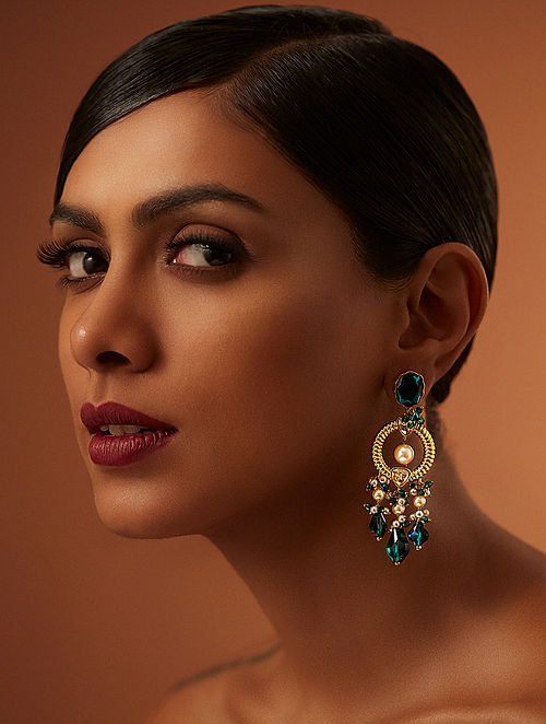 TARUN TAHILIANI-Tarakanna Heritage Emerald Earrings Made with Swarovski Crystals & pearls