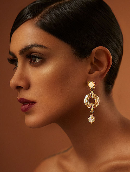 TARUN TAHILIANI-Tarakanna Disc Earrings Made with Swarovski Crystals