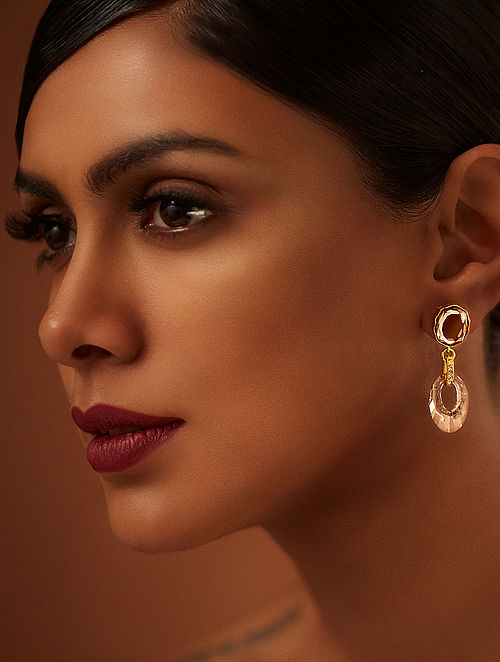 TARUN TAHILIANI-Tarakanna Patina Blush Earrings Made with Swarovski Crystals