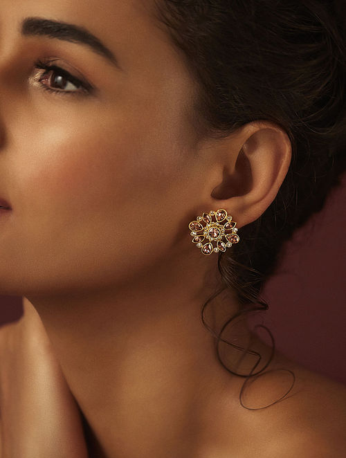 SUNEET VARMA- Enchanted Forest Floral Studs Made with Swarovski Crystals