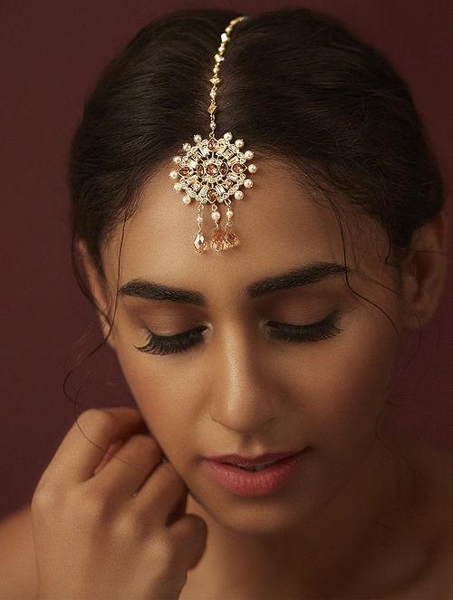 SUNEET VARMA- Enchanted Forest Circular Maang Tikka Made with Swarovski Crystals & pearls