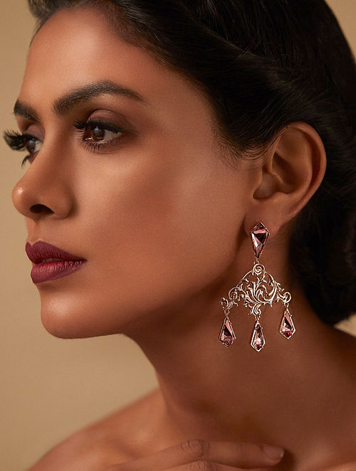 EINA AHLUWALIA-La Rinascita  Blush Rose Drop Earrings Made with Swarovski Crystals