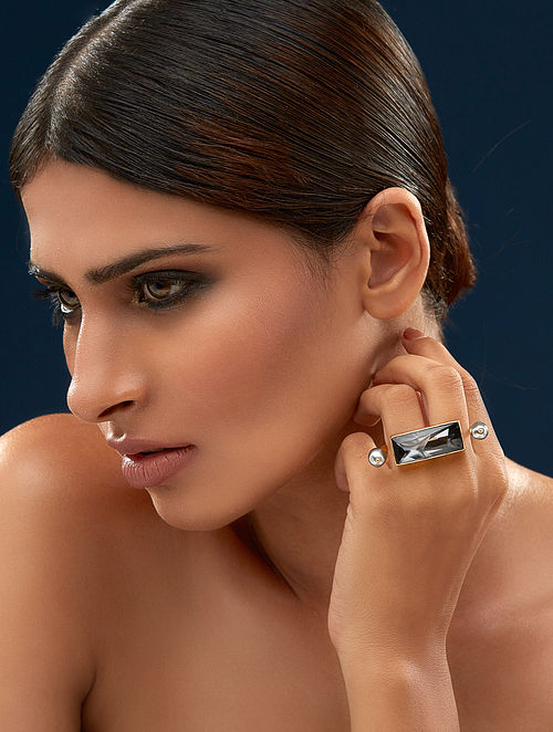 JJ VALAYA- Ranas Warrior Princess Ring Made with Swarovski Crystals & pearls
