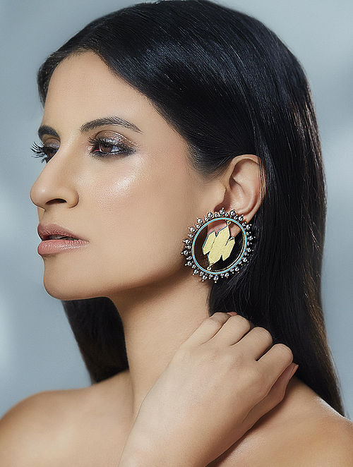 JJ VALAYA-Ranas Of Kutch Full Moon Ear Studs Made with Swarovski Crystals & pearls